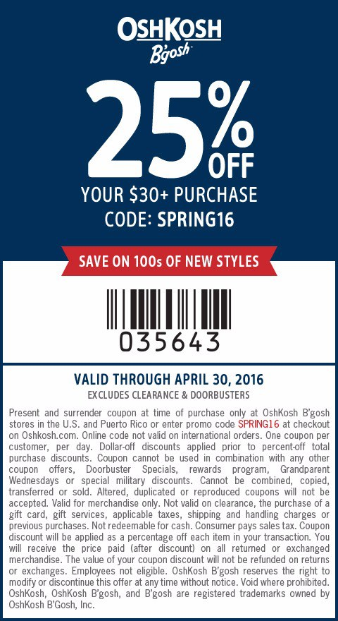 OshKosh B'gosh sells children's clothing. How to Use an OshKosh B'Gosh Coupon: Enter OshKosh promo code where it says