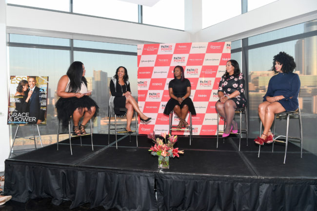 ATLANTA, GA - SEPTEMBER 15: (L-R) Charli Penn, Wanda Bryant Hope, Kandi Burruss, Aeva Gaymon-Doomes, and Trina Small speak at ESSENCE And Johnson & Johnson's Path To Power at Ventanas on September 15, 2016 in Atlanta, Georgia. (Photo by Paras Griffin/Getty Images for Essence)